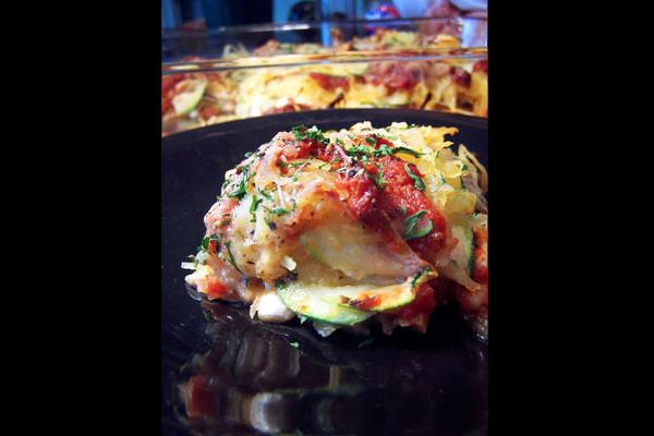 """Zucchini and Spaghetti Squash """"Lasagna"""" - with border"""