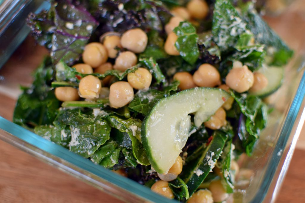 Kale, Cucumber and Chickpea Salad