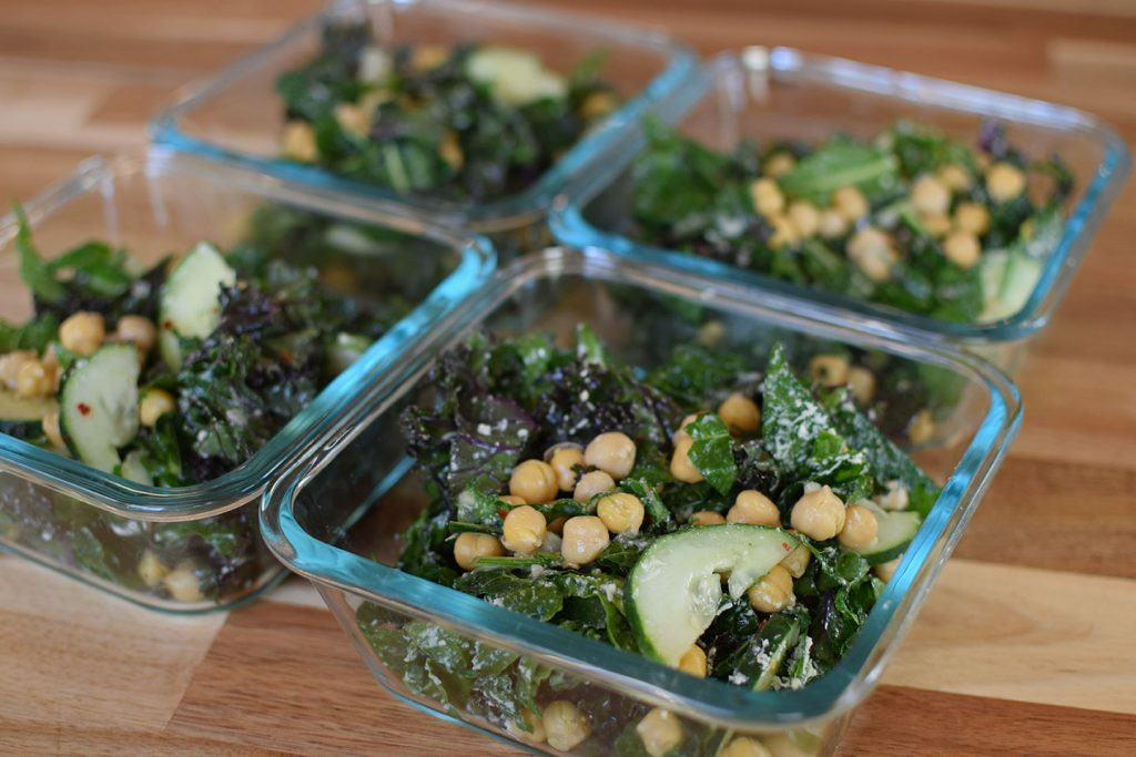 Kale, Cucumber and Chickpea Salad - 4 servings