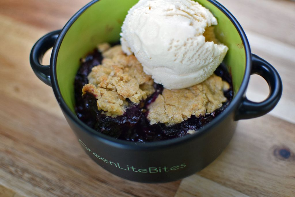 Blueberry Cobbler with Homemade Coconut Rum Ice Cream